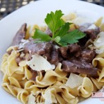 Beef Tips over Egg Noodles
