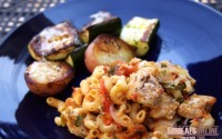 chicken pasta bake and broiled veggies