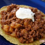 Ground Beef and Potato Tostada